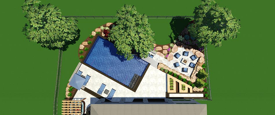 A 3D landscape and pool design from a bird's eye view.